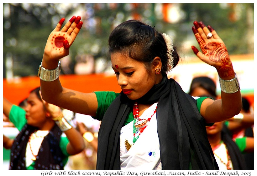 Dancing Girls with black scarves, Guwahati, Assam, India - Images by Sunil Deepak