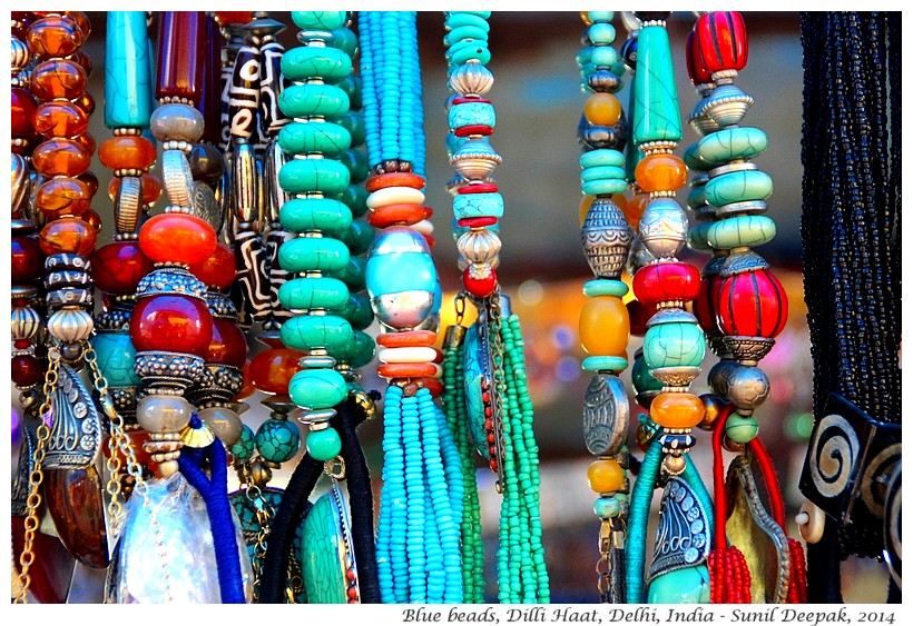 Blue beads, Delhi, India - Images by Sunil Deepak