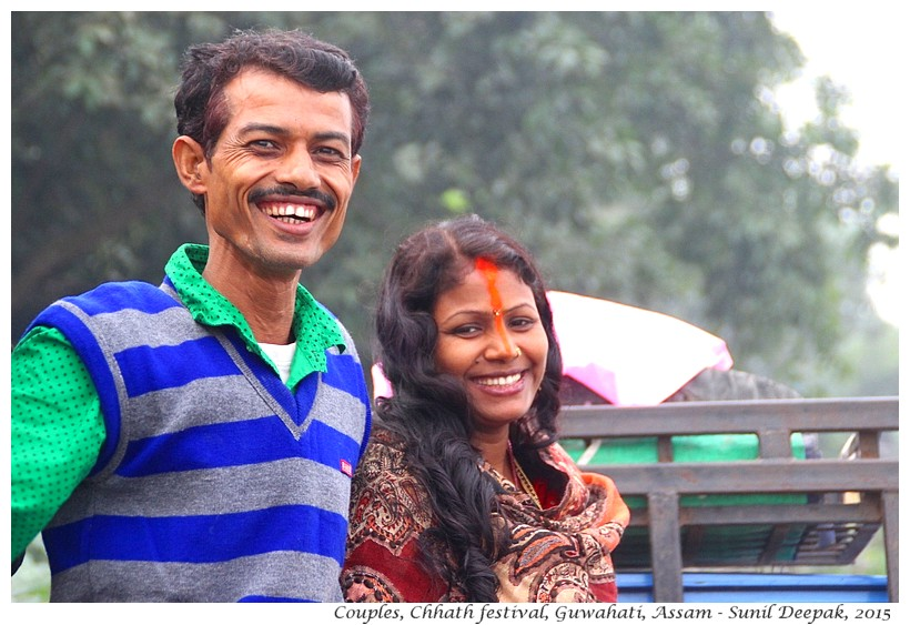 Couples at Chhath festival, Guwahati, Assam, India - Images by Sunil Deepak