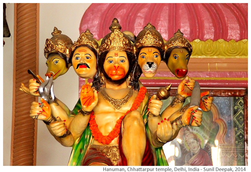 Hanuman statues, Chhattarpur temple complex, Delhi, India - Images by Sunil Deepak, 2014