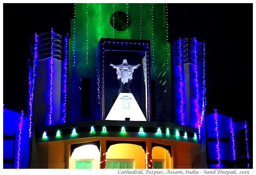 Christmas lights, cathedral, Tezpur, Assam, India - Images by Sunil Deepak, 2015