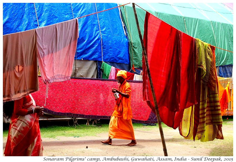 Drying sari of pilgrims at Ambubashi festival, Guwahati, Assam, India - Images by Sunil Deepak