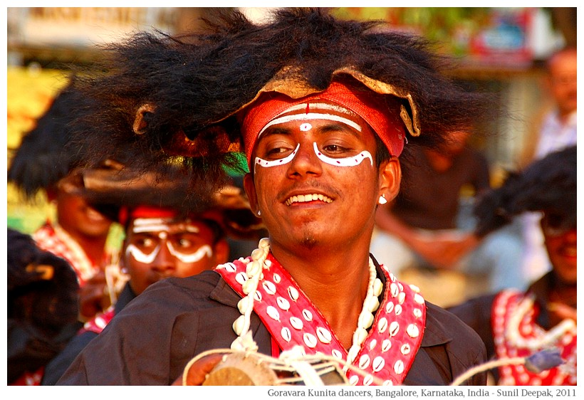 Gaurava dancers, bear caps, Karnataka, India - Images by Sunil Deepak