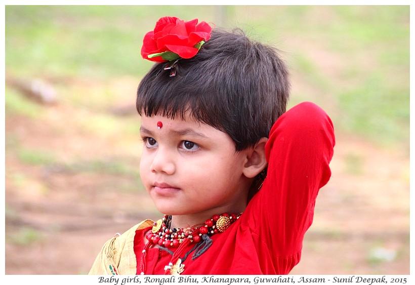 Baby girls with flowers, Khanapara, Guwahati, Assam, India - Images by Sunil Deepak