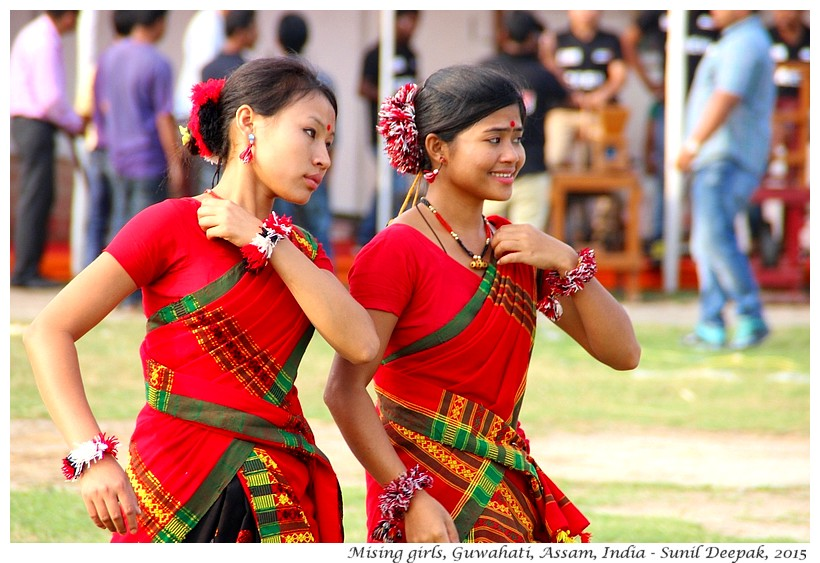Mising women's dancing group, Assam, India -Images by Sunil Deepak