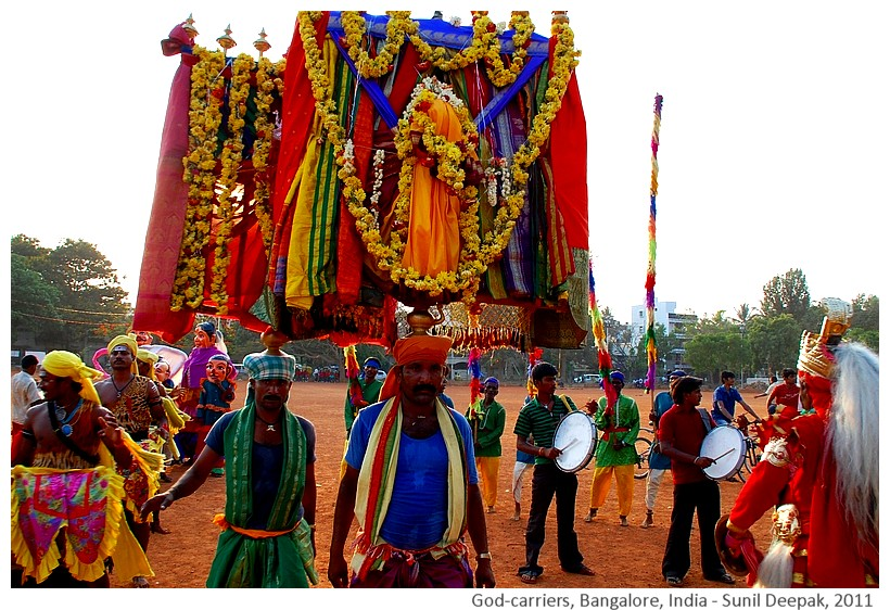 Deity-carriers in procession, Bangalore, India - Images by Sunil Deepak, 2011