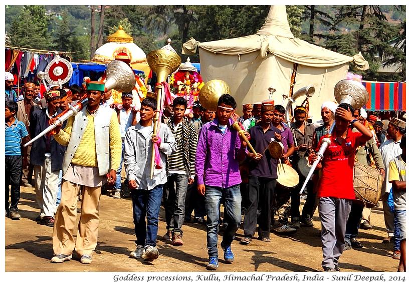 Musicians in goddess processions, Kullu, Himachal Pradesh, India - Images by Sunil Deepak