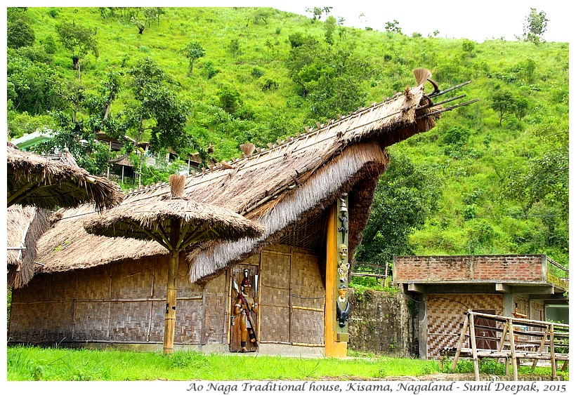 Ao tribe traditional Naga house, Kisama, Nagaland, India - Images by Sunil Deepak