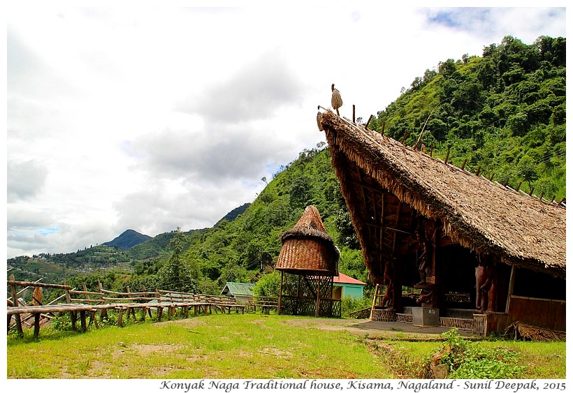Konyak tribe traditional Naga house, Kisama, Nagaland, India - Images by Sunil Deepak