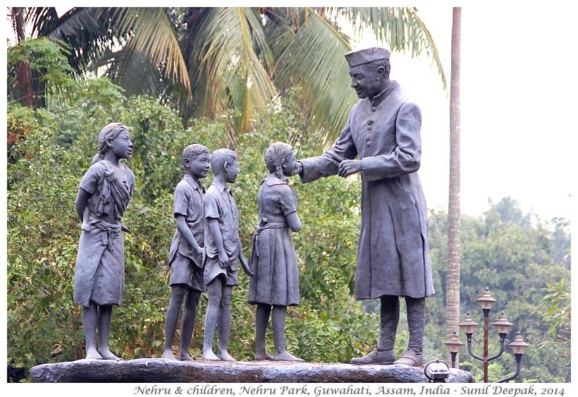 Nehru with children terracotta statues, Guwahati, Assam, India - Images by Sunil Deepak, 2014