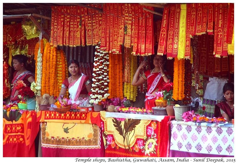 Temple shops, Bashistha, Guwahati, Assam, India - Images by Sunil Deepak