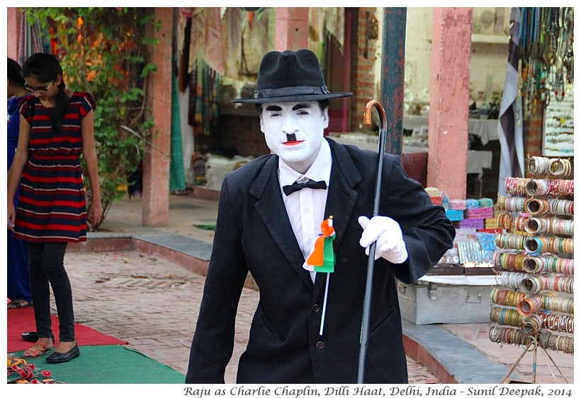 Raju as Charlie Chaplin, Dilli Haat, Delhi, India - Images by Sunil Deepak