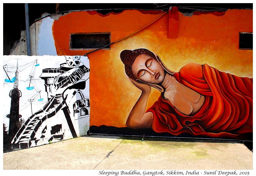 Sleeping Buddha street art, Gangtok, Sikkim, India - Images by Sunil Deepak