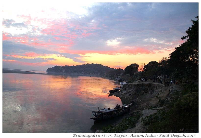 Sunset on Brahmaputra river, Tezpur, Assam, India - Images by Sunil Deepak, 2015