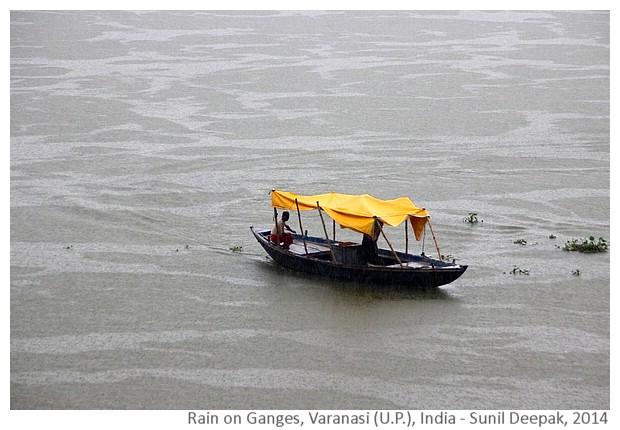 Rain on Ganges, Varanasi (U.P.), India - images by Sunil Deepak, 2014