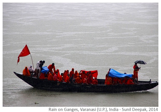 Rain on Ganges, Varanasi (U.P.), India - images by Sunil Deepak, 2014