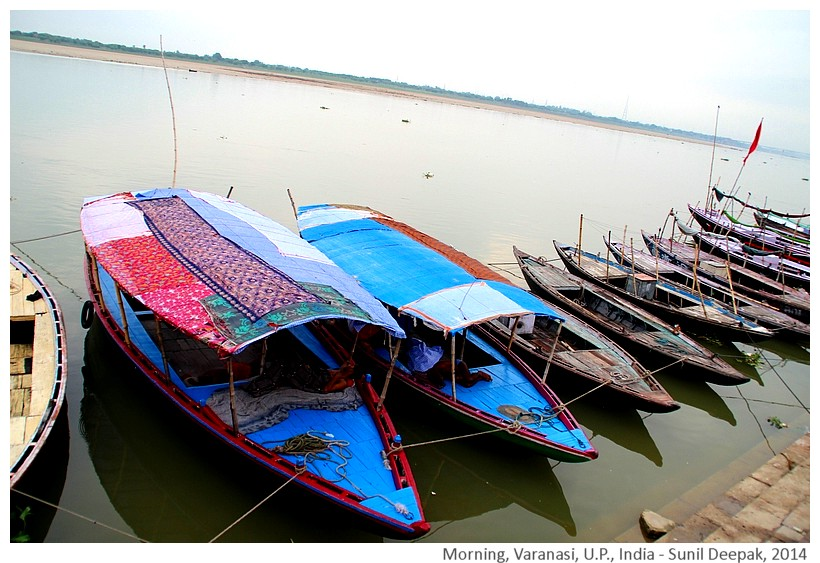 Boats, Varanasi in morning, India - Images by Sunil Deepak, 2014
