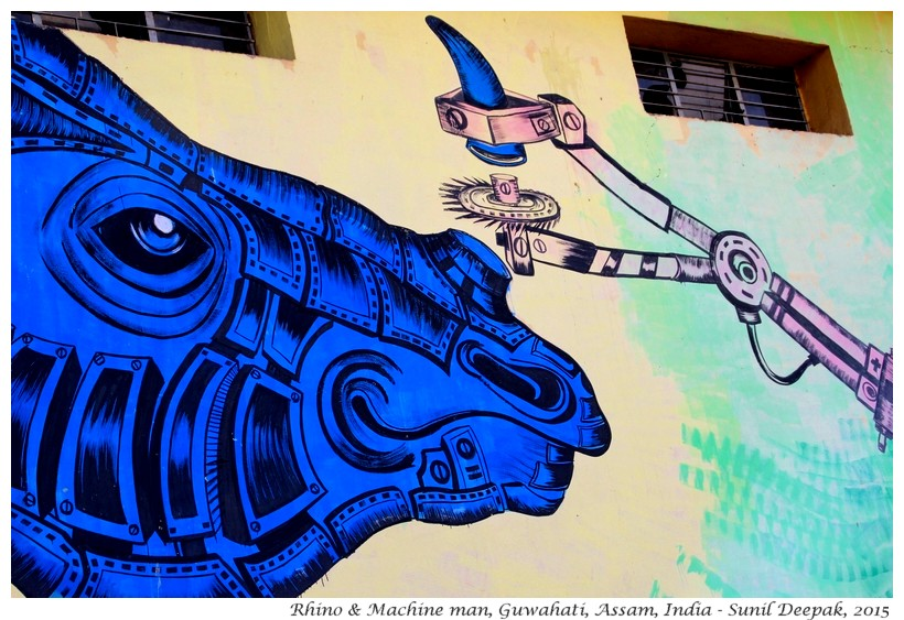 Save Rhino street art by Yantr, Guwahati, Assam, India - Images by Sunil Deepak