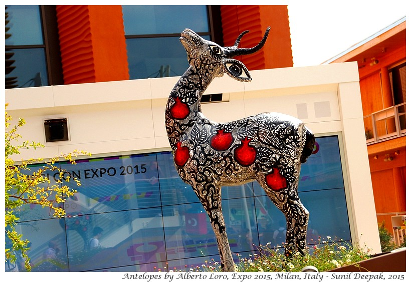 Ceramic antelopes by Alberto Loro, Expo 2015, Milan, Italy - Images by Sunil Deepak