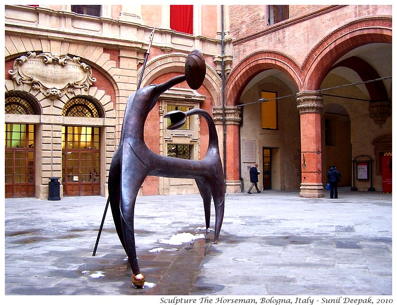 Sculptures, The horseman, Accursio Palace courtyard, Bologna, Italy - Images by Sunil Deepak