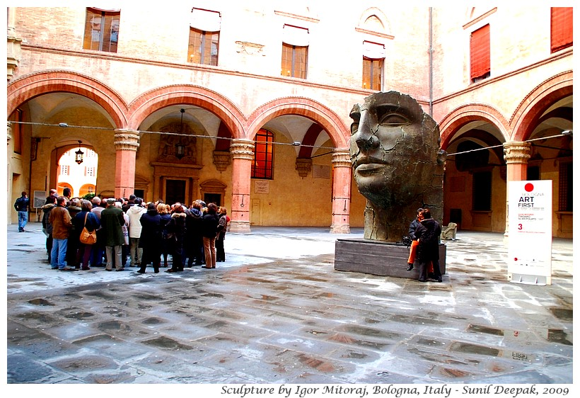 Sculptures, Igor Mitoraj, Accursio Palace courtyard, Bologna, Italy - Images by Sunil Deepak