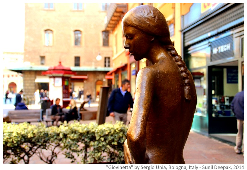 Young woman, scultpure by Sergio Unia, Bologna, Italy - Images by Sunil Deepak, 2014