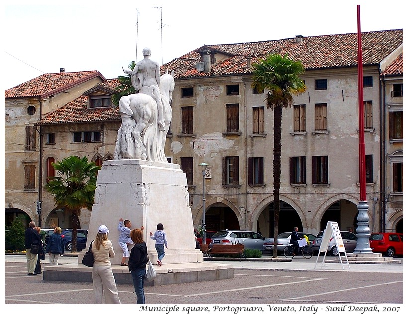 Horseman sculpture, Municiple square, Portogruaro, Italy - Images by Sunil Deepak