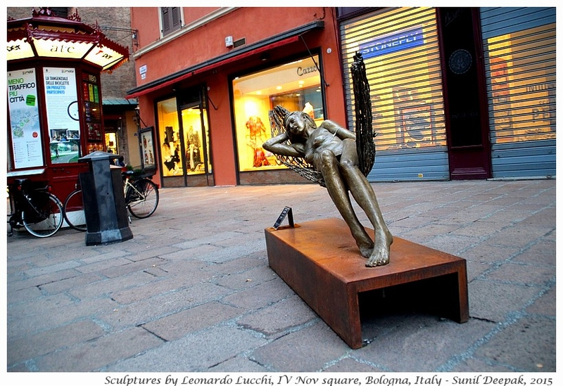 Sculptures of Leonardo Lucchi in IV Nov square, Bologna, Italy - Images by Sunil Deepak