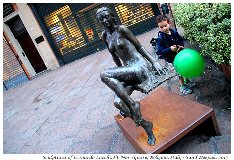 Sculptures of Leonardo Lucchi in IV Nov square, Bologna, Italy - Images by Sunil Deepak