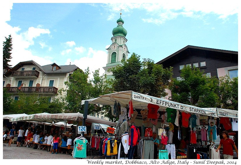 Weekly market, Dobbiaco, Alto Adige, Italy - Images by Sunil Deepak