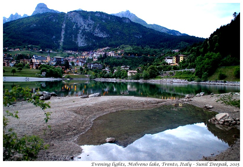 Evening lights, Molveno lake, Trento, Italy - Images by Sunil Deepak