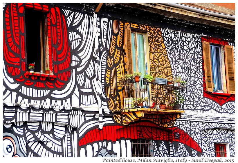 Painted house, Milano Naviglio, Italy - Images by Sunil Deepak