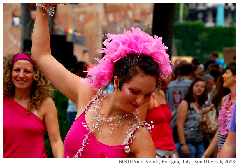 Pink dancers, GLBTI Pride parade, Bologna, Italy - Images by Sunil Deepak, 2013