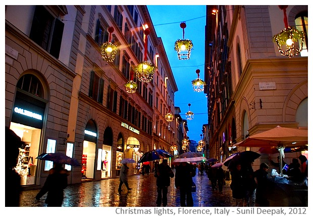Christmas lights, Florence, Italy - images by Sunil Deepak, 2012