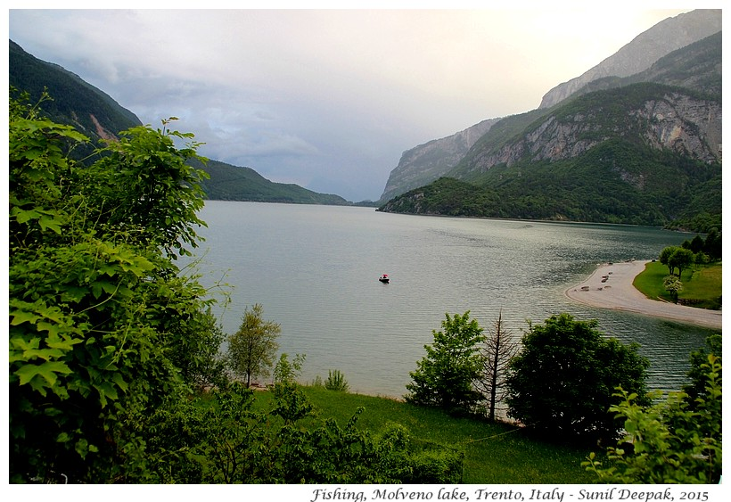 Fishing, lake Molveno, Trento, Italy - Images by Sunil Deepak