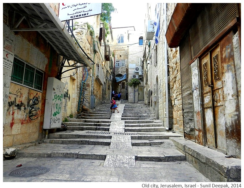 Narrow streets, old city, Jerusalem, Israel - Images by Sunil Deepak, 2014