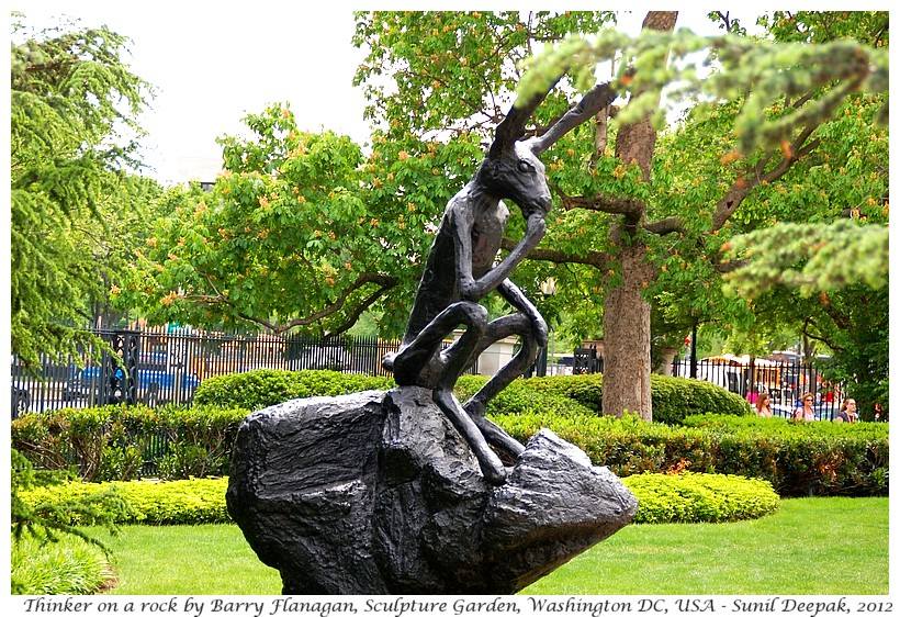 Thinker by Barry Flanagan, Sculpture Garden, Washington DC, USA - Images by Sunil Deepak