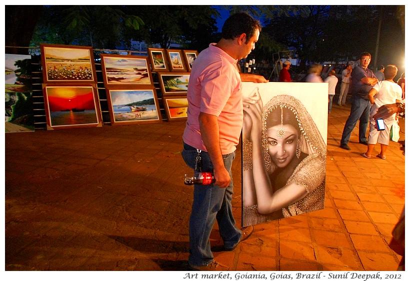 Open air night art market, Goiania, Goias, Brazil - Images by Sunil Deepak