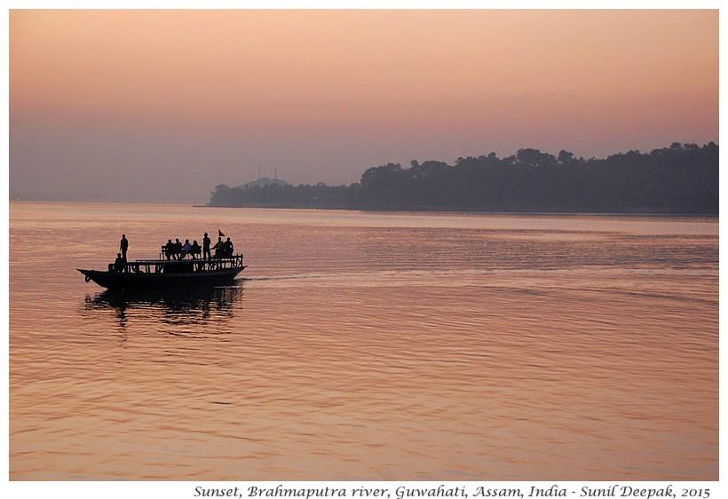 Sunset, Brahmaputra, Assam, India - Images by Sunil Deepak