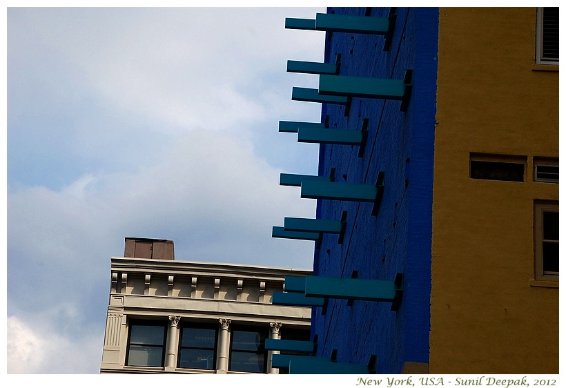 Turkish blue buildings, New York, USA - Images by Sunil Deepak