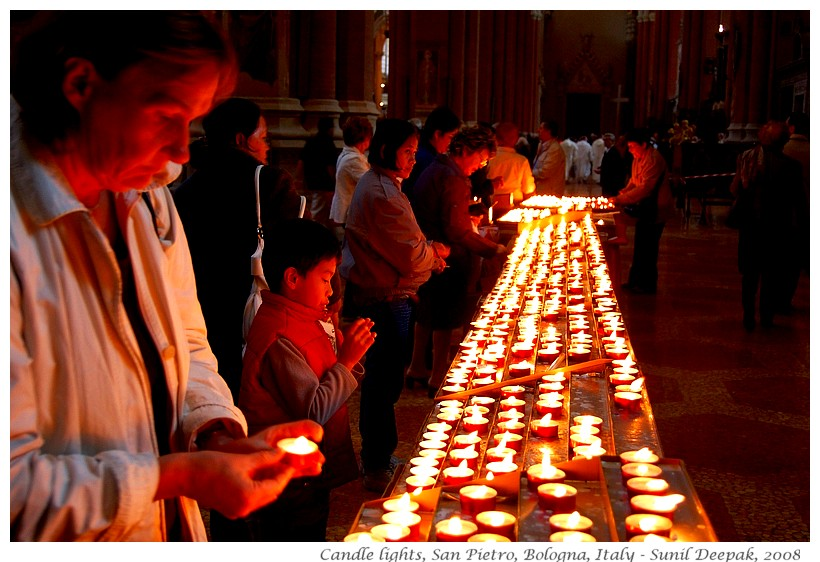 Candle lights, San Pietro church, Bologna, Italy - Images by Sunil Deepak, 2008