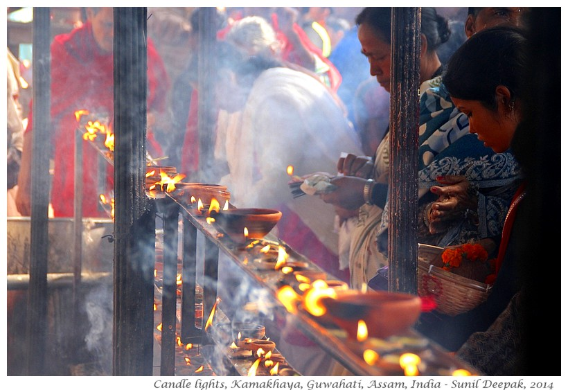 Candle lights, Kamakhaya temple, Guwahati, Assam, India - Images by Sunil Deepak, 2014