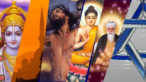 Collage representing different religions